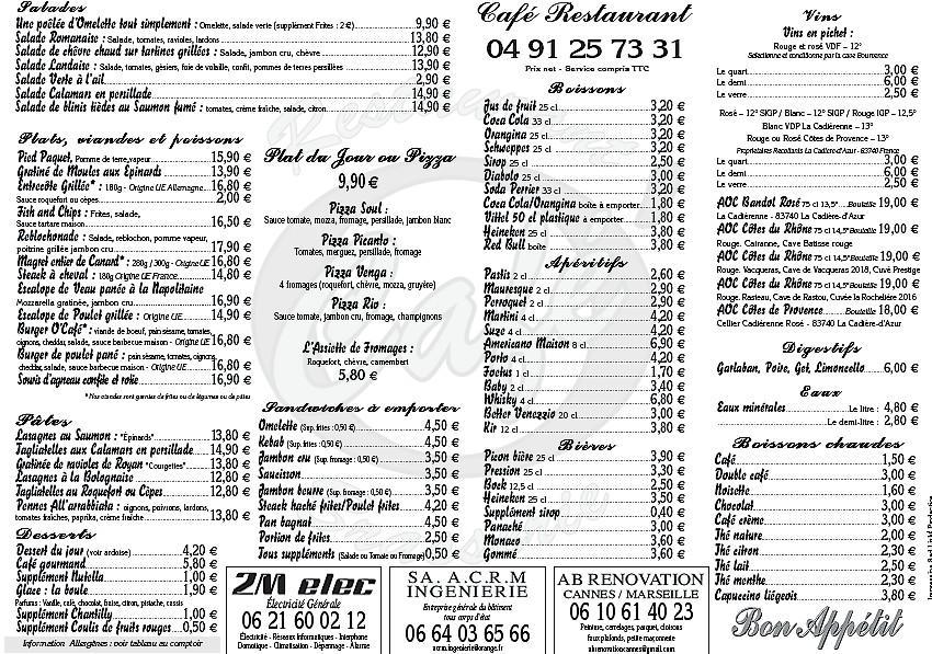 La carte du restaurant